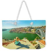 Freedom Woman At Douro River Weekender Tote Bag