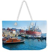 Freighter And Shipping Containers In Port Of Valpaparaiso-chile Weekender Tote Bag