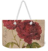 French Burlap Floral 3 Weekender Tote Bag