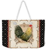 French Country Roosters Quartet Black 3 Weekender Tote Bag