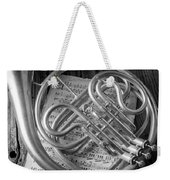French Horn In Black And White Weekender Tote Bag