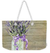 French Lavender Rustic Country Mason Jar Bouquet On Wooden Fence Weekender Tote Bag