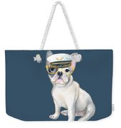 Frenchie French Bulldog Yellow Glasses Captains Hat Dogs In Clothes Weekender Tote Bag