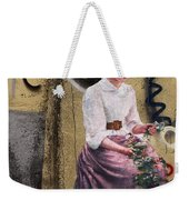 Frescoe Painting Of A Woman In Traditional Dress With Flowers Am Weekender Tote Bag