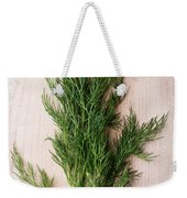 Fresh Green Dill On Wooden Plank Weekender Tote Bag