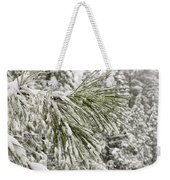 Fresh Snow Covers Needles On A Pine Weekender Tote Bag