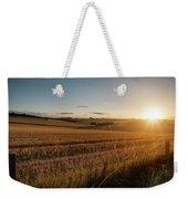 Freshly Harvested Fields Of Barley In Countryside Landscape Bath Weekender Tote Bag