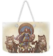 Freya And Her Cat Chariot-garbed Version Weekender Tote Bag