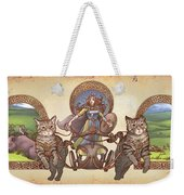 Freya Driving Her Cat Chariot - Triptic Garbed Version Weekender Tote Bag
