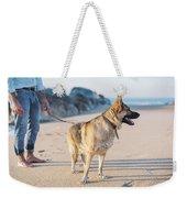 German Shepherd With Man On The Beach Weekender Tote Bag