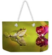 Frog And Fuchsia With Reflections Weekender Tote Bag