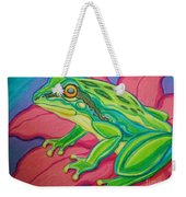Frog On Flower Weekender Tote Bag