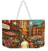 From Schwartz's To Warshaws To The  Main Steakhouse Montreal's Famous Landmarks By Carole Spandau  Weekender Tote Bag