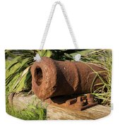 Front End Of An Old Rusty Cannon Lying On The Floor Weekender Tote Bag
