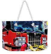 Front Of Fire Truck With Hose Weekender Tote Bag