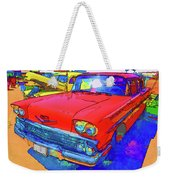 Front View Of Red Retro Car  Weekender Tote Bag