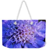 Frosted Blue Pincushion Flower Weekender Tote Bag