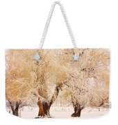 Frosted Golden Trees Weekender Tote Bag