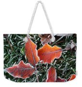 Frosted Leaves Weekender Tote Bag