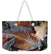 Frosted Painted Leaves Weekender Tote Bag