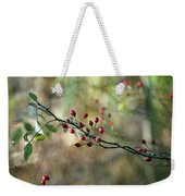 Frosted Red Berries And Green Leaves  Weekender Tote Bag