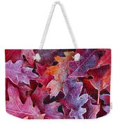 Frosted Red Oak Leaves Weekender Tote Bag