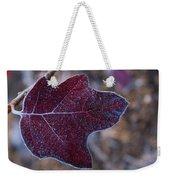 Frosty Maroon Leaf Weekender Tote Bag