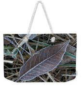 Frosty Veined Leaf Weekender Tote Bag