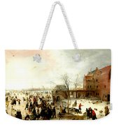 Frozen River Near A Town Weekender Tote Bag