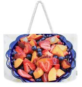 Fruit Salad In Blue Bowl Weekender Tote Bag