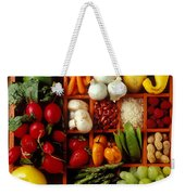 Fruits And Vegetables In Compartments Weekender Tote Bag by Garry Gay