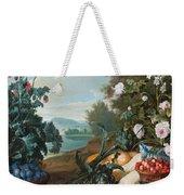 Fruits Flowers And Vegetables In A Landscape Weekender Tote Bag