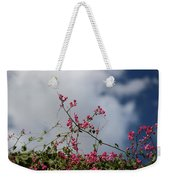 Fuchsia Mexican Coral Vine On White Clouds Weekender Tote Bag