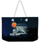Full Blood Moon Over The Magnificent St. Sava Temple In Belgrade Weekender Tote Bag