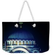 Full Moon Directly Over The Magnificent St. Sava Temple In Belgrade Weekender Tote Bag