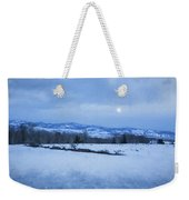 Full Moon Over A Field Of Snow Weekender Tote Bag