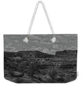 Full Moon Over Red Cliffs Bw Weekender Tote Bag