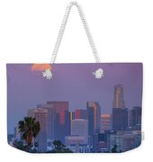 Full Moon Rising Over Downtown Los Angeles Skyline Weekender Tote Bag