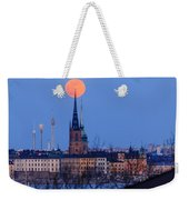 Full Moon Rising Over Gamla Stan In Stockholm Weekender Tote Bag