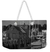 Full Moon Rising Over Motif  Number 1 Rockport Ma Black And White Weekender Tote Bag
