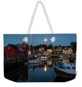 Full Moon Rising Over Motif  Number 1 Rockport Ma Moonrise Weekender Tote Bag