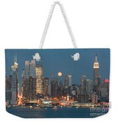Full Moon Rising Over New York City I Weekender Tote Bag