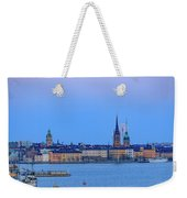 Full Moon Rising Over The Trio Of Gamla Stan Churches In Stockholm Weekender Tote Bag