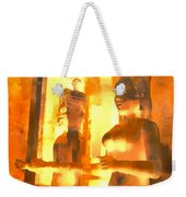 Funky Abstract Square Welcome Couple Sunny Yellow Lake City 1b Weekender Tote Bag