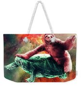 Funny Space Sloth Riding On Turtle Weekender Tote Bag
