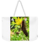 Furry Caterpillar On A Yellow Flower Weekender Tote Bag