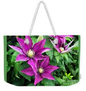 Fushia Clematis Flowers Weekender Tote Bag