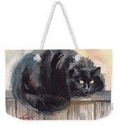 Fuzzy Black Cat Weekender Tote Bag