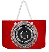 G - Silver Vintage Monogram On Red Leather Weekender Tote Bag