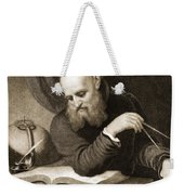 Galileo With Compass And Diagrams Weekender Tote Bag